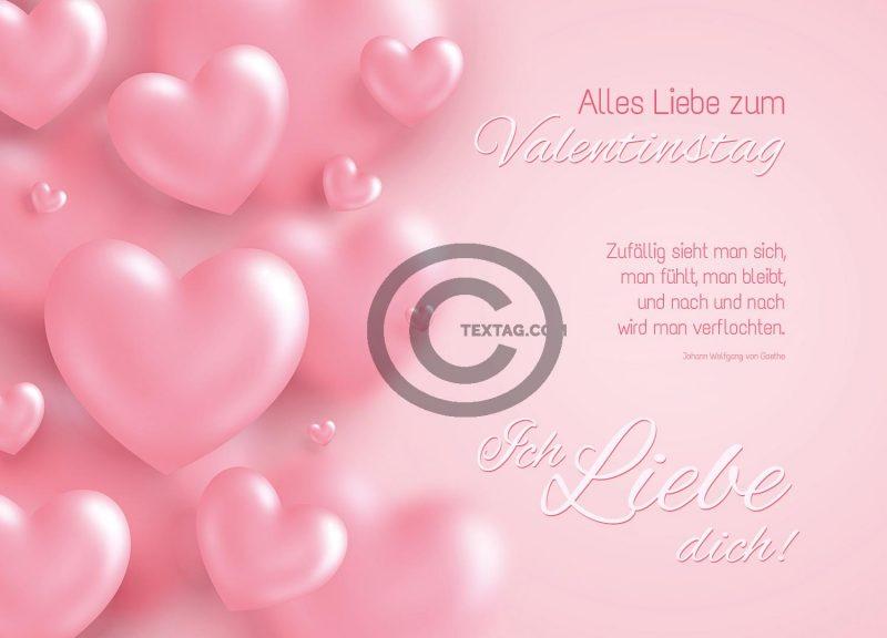 Valentinstag E-Card in zartem Rosa für Frischverliebte (00480)