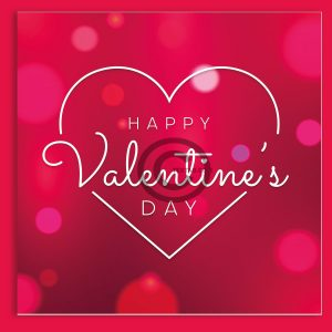 Valentinstag E-Card - Happy Valentine's Day in Pink mit weißem Herz
