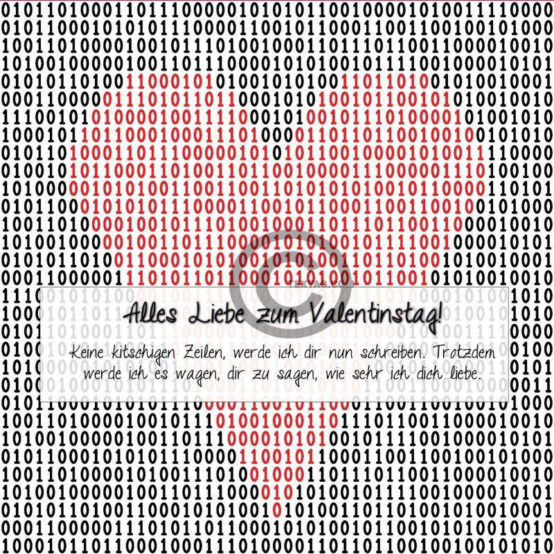 Valentinstag E-Card - Herz in Binärcode (00485)